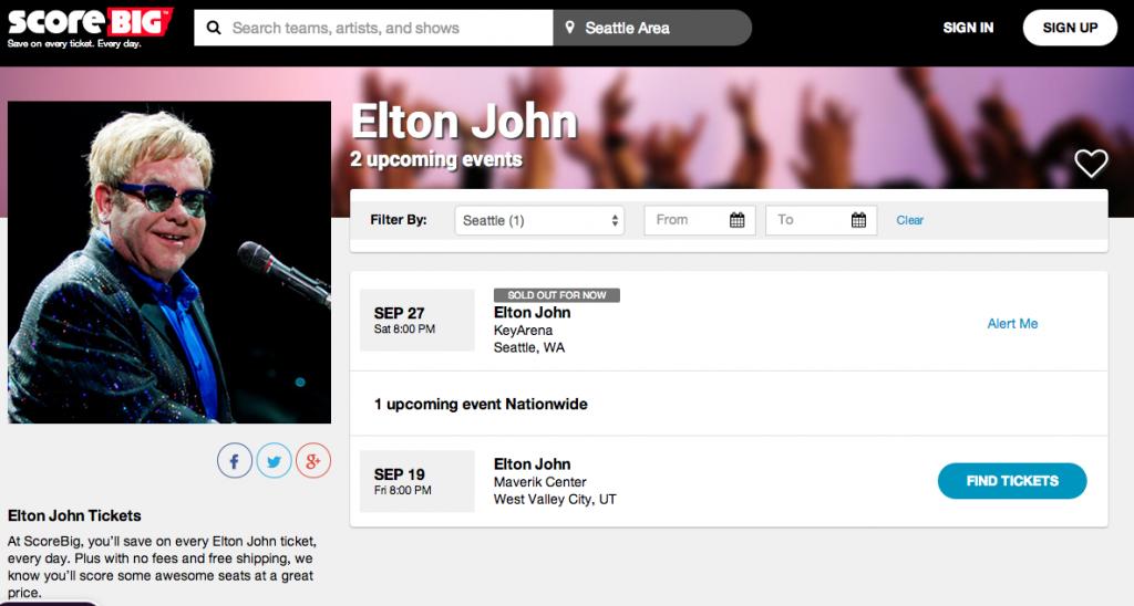 Elton John tickets on ScoreBig Sponsored
