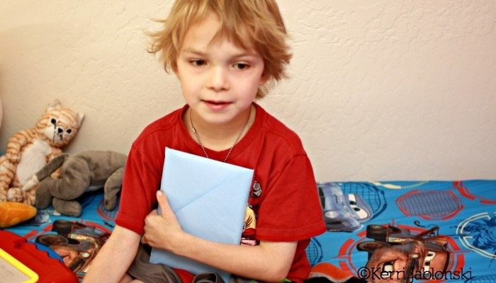 Sebby with his cards for kids #kidscards #cbias