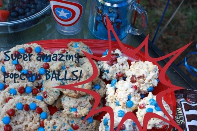 Captain America Party - Popcorn Balls #HeroesEatMMs #cbias #shop
